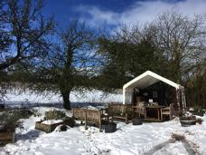 Snow in March covers the Oatley tasting tent
