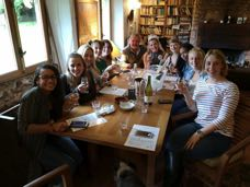 Indoor hen party on a wet and windy September day